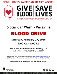5 Star Car Wash Vacaville participates in February 2016 American Heart Month