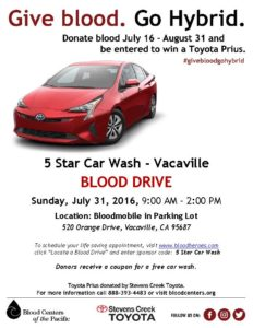 Blood Centers of the Pacific and 5 Star Car Wash Partner for a Blood Drive on July 31, 2016